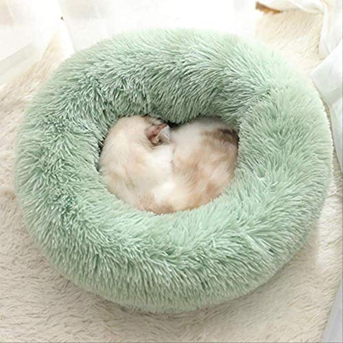 Kennel Ultra Soft Washable Dog And Cat Cushion Bed Winter Warm Sofa Hot Sellpet Dog Bed Comfortable Donut Cuddler Round Dog 40cm 8kg sleep Light green
