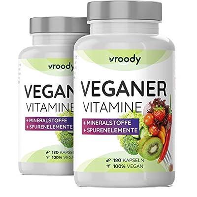 2x VROODY Vitamine für Veganer und Vegetarier - 2x 180 Kapseln (Jahresvorrat) - mit Vitamin B12, B2, D3, Calcium, Eisen, Zink, Jod & L-Lysin - Your daily vegan supplements