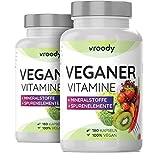 2x VROODY Vitamine für Veganer und Vegetarier - 2x 180 Kapseln (Jahresvorrat) - mit Vitamin B12,...