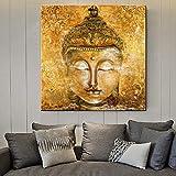 Mode Leinwand-Malerei Wall Art Bilder Gold-Buddha-Kopf auf