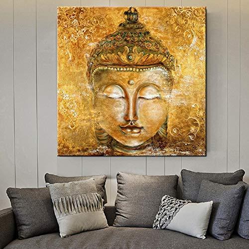 Mode Leinwand-Malerei Wall Art Bilder Gold-Buddha-Kopf auf Leinwand Hauptdekor-Wand Poster Dekoration for Wohnzimmer Buddha Drucke (Color : Lye1625, Size (Inch) : No Frame 70x70cm)