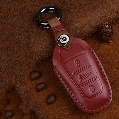Funda de piel para llave de coche, para Peugeot 308 408 508 2008 3008 4008 5008 Citroen C4 C4L C6 C3-XR accesorios Shell llavero (rojo)