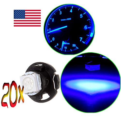 OCPTY 20Pack Blue T5 Neo WedgeHalogen Light Bulb Super Bright Instrument Panel Gauge Cluster Dashboard Light Bulbs