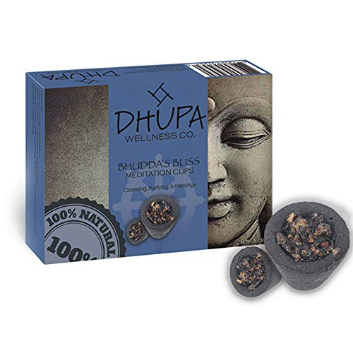 Ancientveda Buddha's Bliss Incense Smudge Cups - Pack of 6 Smudge Cups for Purification, Cleansing, Meditation & Yoga