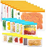 Reusable Storage Bags, 20 Pack BPA Free PEVA Resuable Freezer Bags, Reusable Gallon Bags, Reusable Sandwish Bags, Silicone Food Bags