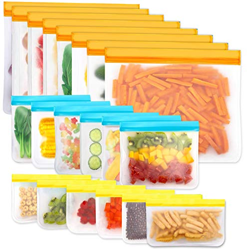 Reusable Storage Bags, 20 Pack BPA Free PEVA Resuable Freezer Bags, Reusable Gallon Bags, Reusable...
