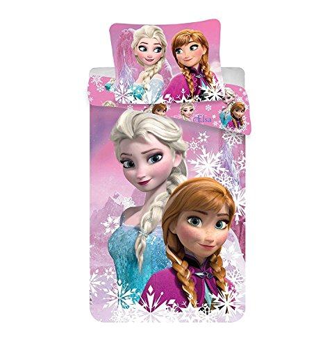 Jerry Fabrics 226123 - Set Copripiumino singolo e federa per bambina, Elsa e Anna, Frozen, 100% Cotone, 200x140 cm