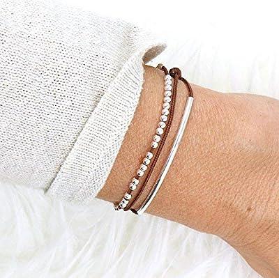 bracelet cordon trois tours jonc et perles argent massif 925