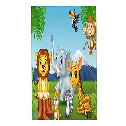 PUNKDBOTTO 2 toallas de baño, diseño de animales salvajes de dibujos animados en la selva, toallas de mano ultra suaves y altamente absorbentes para baño, toalla de ducha