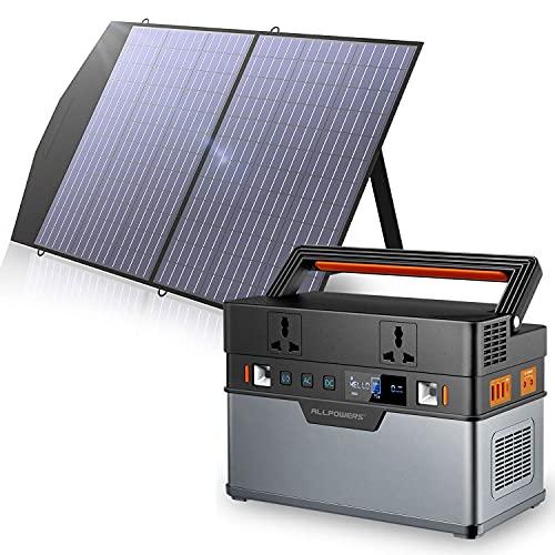 ALLPOWERS Générateur solaire portable 666 Wh / 185200 mAh (panneau solaire en option) avec panneau solaire pliable 1 x 100 W batterie au lithium de secours pour camping en plein air
