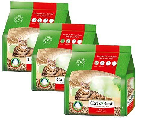 Cat's Best Original, Pflanzenfaser-Streu 3 x 10 Liter Katzenstreu, Toilettenstreu