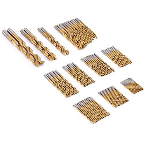 Brocas, brocas para metal con revestimiento de Ti, juego de brocas HSS, brocas HSS, ideales para el uso de bricolaje en el hogar y construcción general/ingeniería Uso doméstico o de