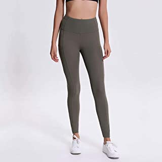 Yoga Pants Female Stretch Double-Sided Thin Section High Waist Pants Stitching Pocket Sports Running Nine Pants,ArmyGreen(4)