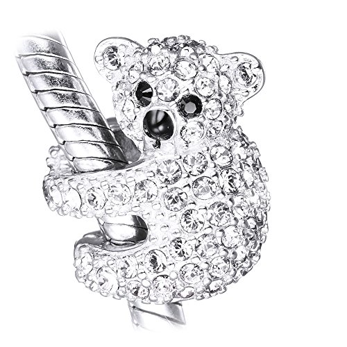 Koala Bear Charm - S925 Sterling Silver Women's Bead fits Pandora Charm Bracelet - Gift boxed for Christmas (Clear crystals)