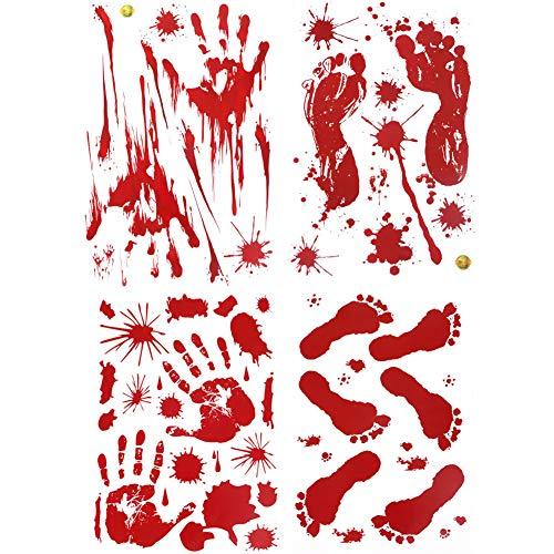 YuBoBo 60 Stück Halloween-Dekoration, Abnehmbare Horror blutige Handabdrücke Fußabdrücke Aufkleber Halloween Vampir Zombie Party Decor Supplies