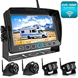 Fookoo 1080P Wireless Backup Camera System Kit with Recording, 7' HD Quad Split Monitor with Touch Button & IP69 Waterproof Rear View Side View Cameras with Parking Lines for RV/Truck/Trailer/Van