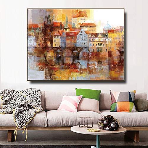Ciudad a base de agua acuarela lienzo pintura caligrafía impresiones decoración del hogar arte de la pared póster imágenes sala de estar dormitorio sin marco pintura decorativa en lienzo P30 40x60cm