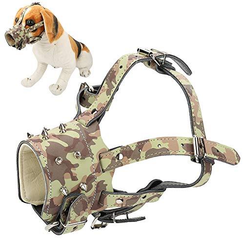 Pssopp Maulkorb Maulschlaufe Hundemaulkorb um Hunde vom Beisen, Bellen und Kauen abzuhalten, Kunstleder Sicherheitshund Mundschutz mit verstellbaren Trägern (Camouflage)