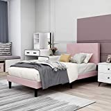 Upholstered Platform Bed Frame Twin Size with Headboard, Mattress Foundation/Wood Slat Support/No Box Spring Needed/Easy Assembly,Pink