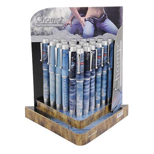 rotix 24 x Kuli mit Kappe Kugelschreiber im Jeans-Look mit Display Kioskartikel Sonderposten Restposten