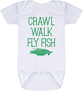 Fly Fishing Baby & Infant Onesie   Crawl Walk Fly Fish   Green   One Piece SM