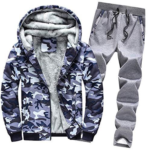 Celucke Trainingsanzug Herren Winter Warm Jogginganzug Camouflage Sportanzug mit Gefütterte, Männer Casual Kapuzenjacke Jogginghose Kombiteil Sweatjacke Traininghose Set (Blau, XXXL)