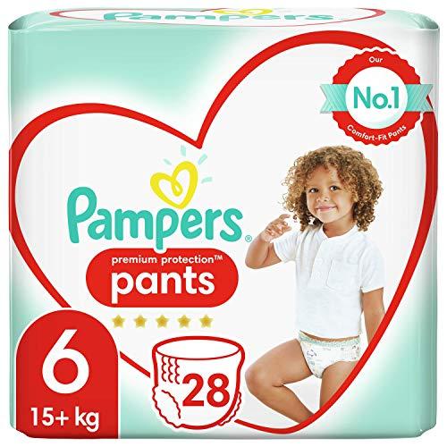Pampers – Premuim Protection Pants – Windeln Größe 6 (+15 kg) – Riesenpackung (x28 Windeln)