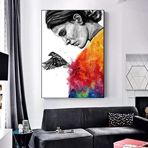 Impresión en Lienzo HD Mural Art Poster Pinturas en Lienzo Graffiti Moderno Imágenes de Mujer Retrato Impresiones Arte de la Pared para la decoración de la Sala de Estar Póster Sin Marco