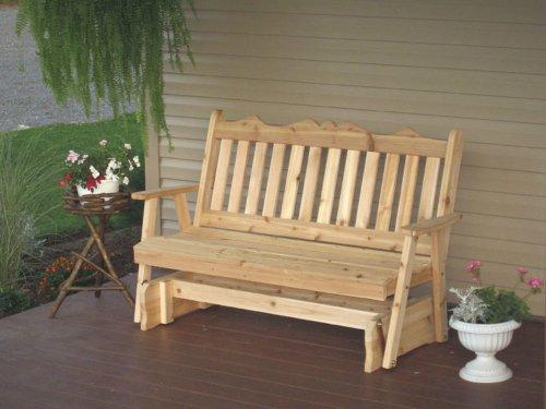 Cedar 6 Foot Royal English Porch Glider - Stained- Amish Made USA -Walnut