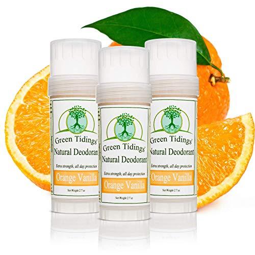 Green Tidings Natural Deodorant - Orange Vanilla 2.7 oz. (3 Pack) - Extra Strength, All Day Protection - Vegan - Cruelty-Free - Aluminum Free - Paraben Free -Organic- Non-Toxic - Solid Lotion Bar Tube