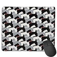 滑り止めマウスマット、Black Scottie Dogsマウスパッドデスクトップ、コンピューター、PC、ラップトップ、オフィスおよび家庭用にカスタマイズ30x25 cm /11.8x9.8インチ