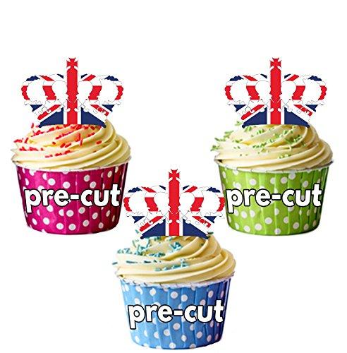 PRE-Cut Union Jack kronen koninklijke bruiloft - eetbare cupcake toppers/taart decoraties (Pak van 12)