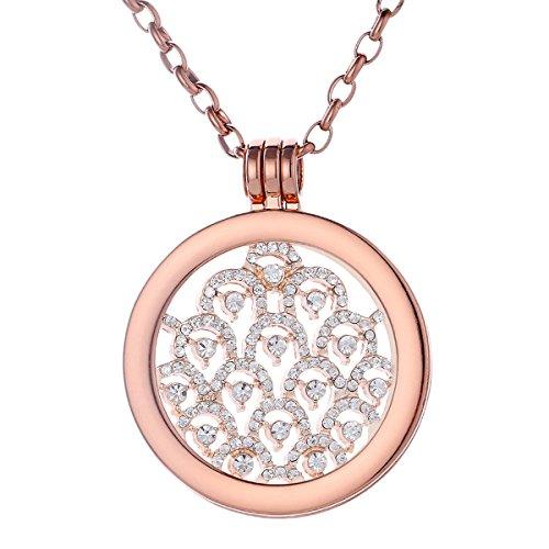 Morella Damen Halskette Rosegold 70 cm Edelstahl mit Anhänger und Coin 33 mm Zirkonia Muster Rosegold in Schmuckbeutel