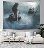 NiYoung Hippie Tapestry, Mermaid Tail Pirate Ship Tapestries, Indian Dorm Decor, Psychedelic Tapestry Wall Hanging Ethnic Decorative 60x70 inches
