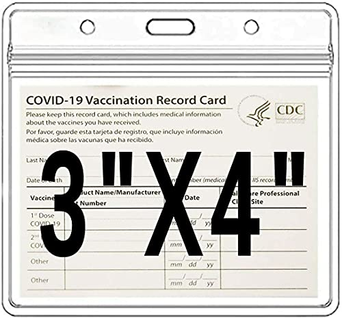 6Pack-CDC Vaccine Card Protector,4 X 3 Inches Immunization Vaccination Card Record Holder ,Clear Vinyl Plastic Sleeve I'D Name Tag Card Holder with Waterproof Type Resealable Zip (6)