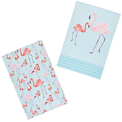 Kitchen Craft Flamingo '100% Bedruckte Bird Tee Handtücher, 70x 47cm (Set von 2), Baumwolle, Rosa/Blau, 46x 0,1x 69,5cm