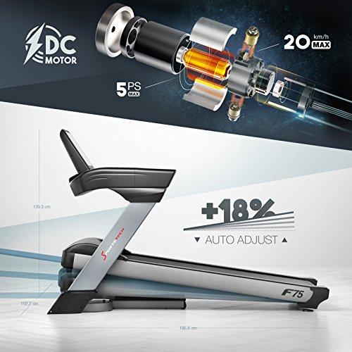 Sportstech F75 Tapis Roulant Elettrico di Ottima qualità Ampia Superficie di Corsa 580x1600mm, Display Android da 15,6