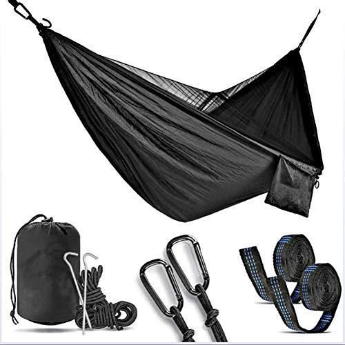 YP Hamaca de Viaje Ultraligera con mosquitero para Acampar 300kg de Capacidad de Carga Transpirable paracaídas de Secado rápido (270 * 140CM),Negro