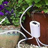 DIY Micro Automatic Drip Irrigation Kit, Self Watering System with Timer and USB Power Operation System Auto & Manual Mode Digital Programmable Water Timer for Indoor Garden Potted Plants (White Auto)