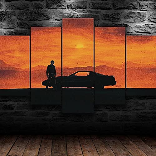 MSKJFD 5 Piezas Material Tejido No Tejido Impresión Artística Imagen Gráfica Decor Pared Mural Moderno Decor Hogareña Regalo Navidad Knight Serie De Televisión De 1982