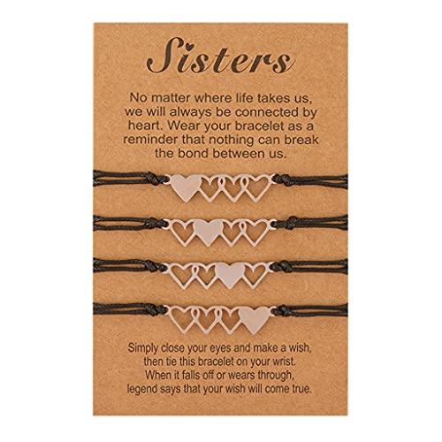 Branets Sister Pulsera a juego Amistad BFF Bestie Heart Charm Wish Pulseras Set para hermana Mejor amiga (4 piezas)
