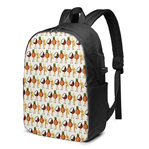 Fruit Stand USB School Backpack Large Capacity Canvas Satchel Casual Travel Daypack for Adult Teen Women Men 17in