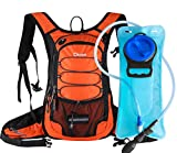 Dtown Hydration Backpack with 2L BPA Free Water Bladder, Water Backpack for Hiking, Cycling, Camping, Biking or Running - Keep Liquid Cool up to 4 Hours(Orange Black)