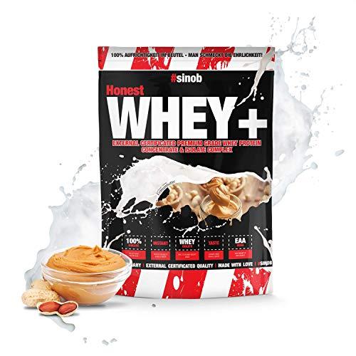 sinob Honest Whey Protein - Erdnussbutter - 1 x 1000 g. 12,5% Isolate Anteil. Instant lösliches Eiweißpulver mit BCAA & EAA 'Hergestellt in Deutschland'