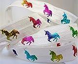 Fold Over Elastic - Colorful Foil Pastel Unicorn Print On FOE- 5/8