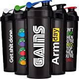 5 PACK - LARGE 32-Ounce Shaker Bottles with Stainless Steel Blenders, Protein Shaker Cups, By Hydra...