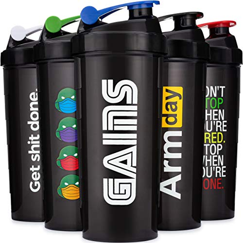 5 PACK - LARGE 32-Ounce Shaker Bottles with Stainless Steel Blenders, Protein Shaker Cups, By Hydra Cup, Black.