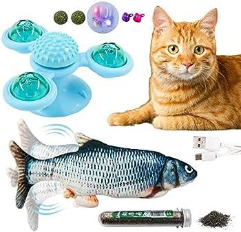 Ensemble de jouets à mâcher senyouth 3 PCS, peut tourner et briller, mâcher et masser, jouet interactif intéressant pour chat, avec poisson, plateau tournant de moulin à vent, herbe à chat biologique