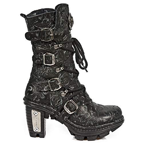 New Rock Newrock Damen Leder NEOTR005-S25 Schwarz schnürsenkel Stiefel Vintage Brocade Style Goth Emo Biker Stiefel (7 UK / 40 EU)