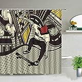 AETTP Sport Skateboard Boy Duschvorhang Badezimmer Display Wasserdichtes Gewebe Badewanne Dekor Hängende Gardinen Mit Haken Kinder Geschenke 180 * 180cm